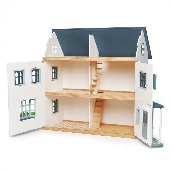 Casuta de papusi din lemn premium, cu etaj, 6 camere 6