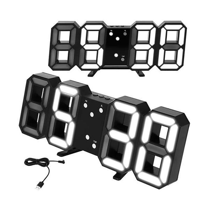 Ceas de perete digital cu termometru si data 5
