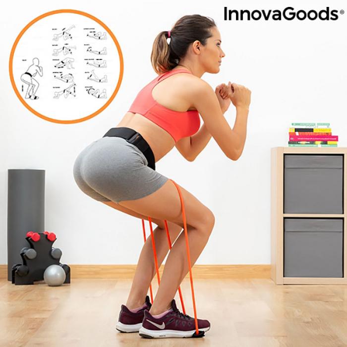 Centura cu benzi de rezistenta pentru fitness, ghid exercitii fizice 0