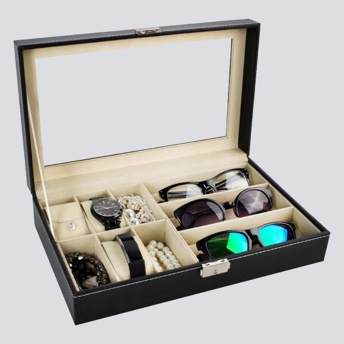 Cutie ceasuri, bijuterii si ochelari, cheita inclusa 0