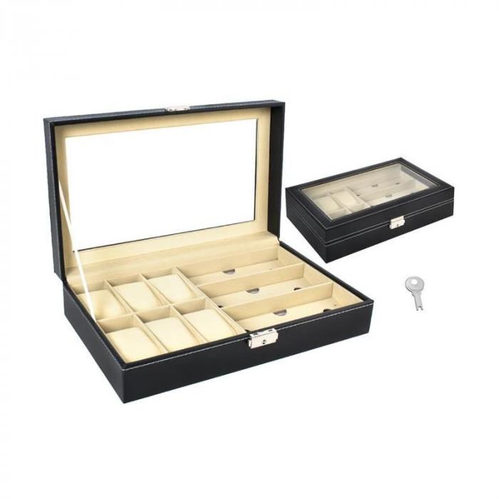 Cutie ceasuri, bijuterii si ochelari, cheita inclusa 3