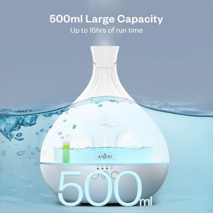 Difuzor aromaterapie uleiuri esentiale Anjou AJ-AD012, 500ml, LED, 7 culori 2