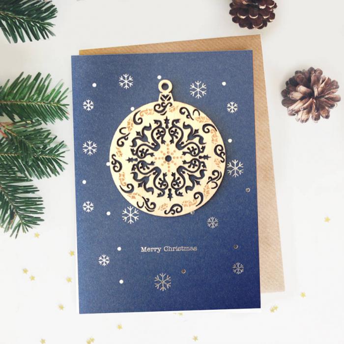 Felicitare de Craciun Ornament din lemn Glob rotund 0