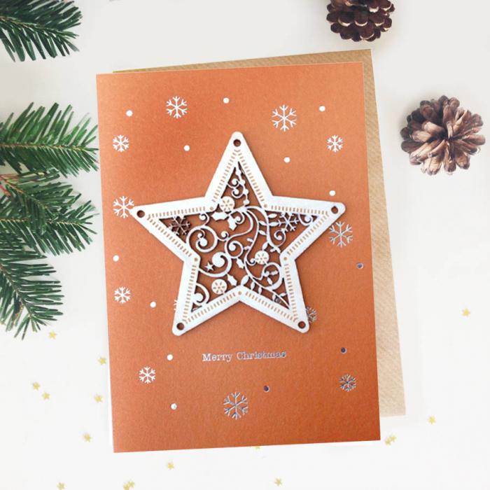 Felicitare de Craciun Ornament din lemn Steaua Sus Rasare 0