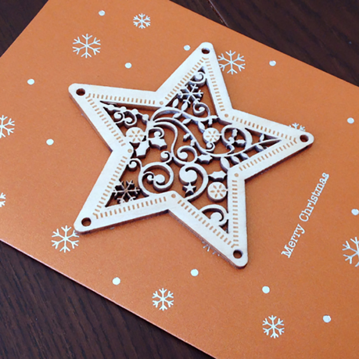Felicitare de Craciun Ornament din lemn Steaua Sus Rasare 1