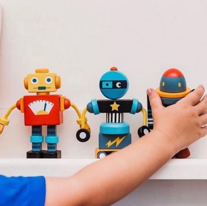 Joc de construit 3 Roboti Retro, lemn premium, 17 piese 0