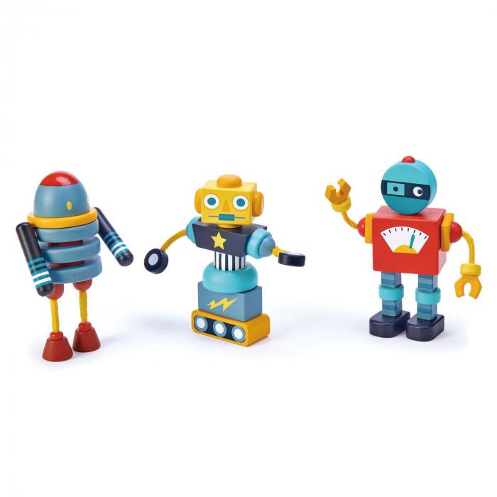 Joc de construit 3 Roboti Retro, lemn premium, 17 piese 4