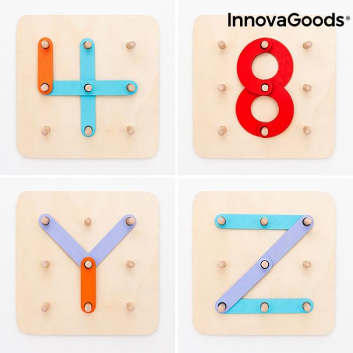 Joc educativ cu litere si numere, 27 piese din lemn 3