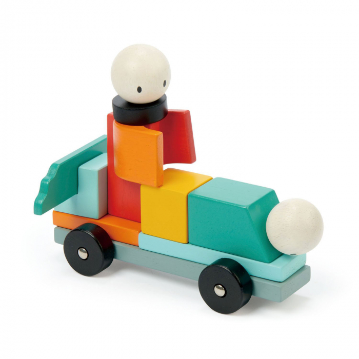 Joc magnetic din lemn Racing, 14 piese 2