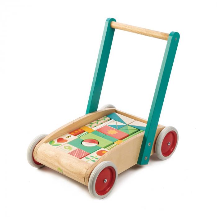 Jucarie din lemn de impins, Antemergator si cuburi din lemn, 29 piese 4