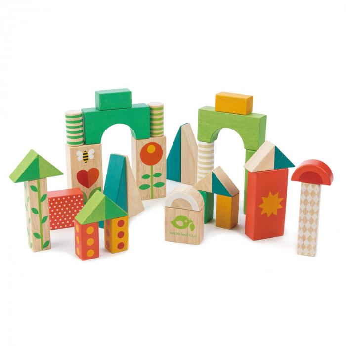 Jucarie din lemn de impins, Antemergator si cuburi din lemn, 29 piese 3