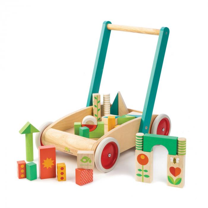 Jucarie din lemn de impins, Antemergator si cuburi din lemn, 29 piese 2