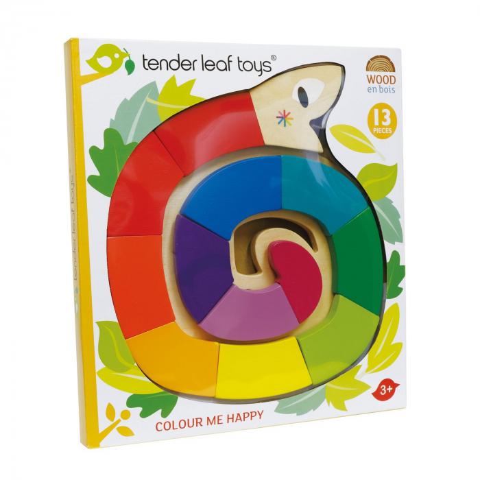 Jucarie din lemn premium Sarpele colorat, puzzle cu 13 piese 4