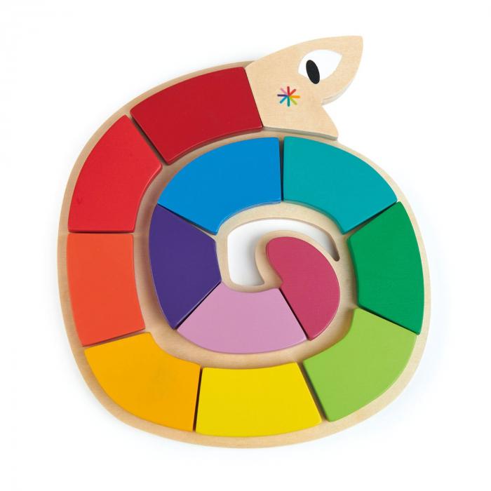 Jucarie din lemn premium Sarpele colorat, puzzle cu 13 piese 2