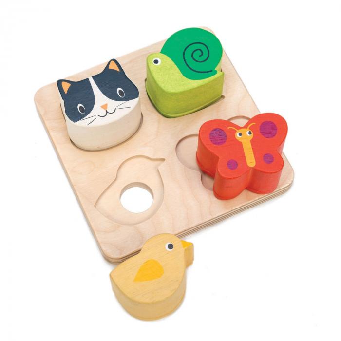 Jucarie din lemn, tabla senzoriala cu efecte tactile, 5 piese 2