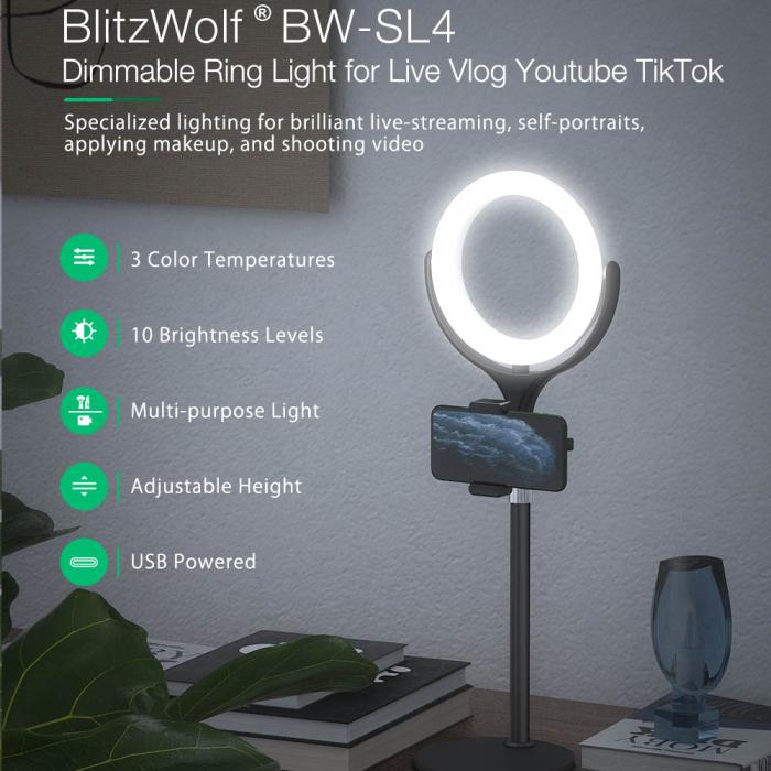 Lampa LED Make-up Profesionala BlitzWof BW-SL4, 64 leduri cu lumina rece/ calda 4