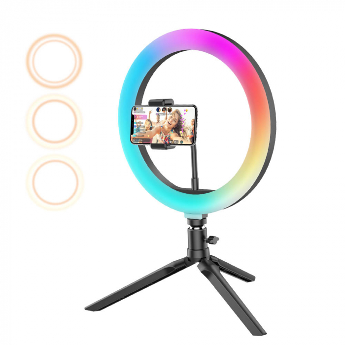 Lampa LED Make up Profesionala BlitzWof BW-SL5 RGB, 120 Leduri, 10 culori, trepied 8