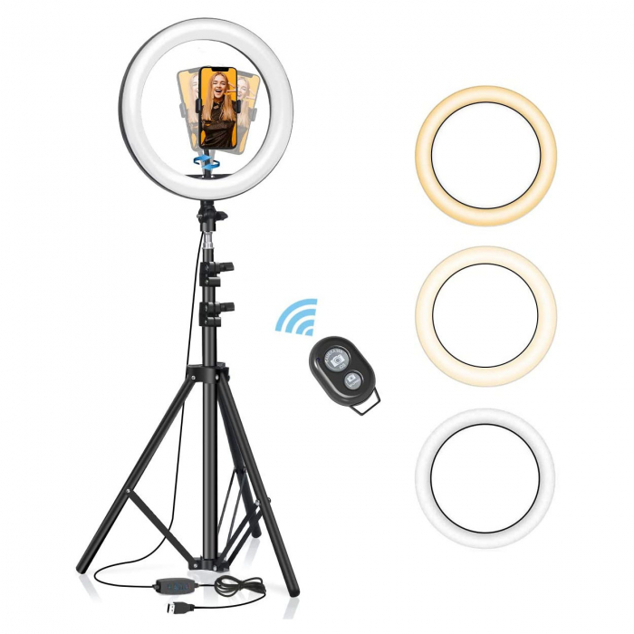 Lampa led makeup profesionala, Ring Light cu 120 leduri lumina rece si calda 8