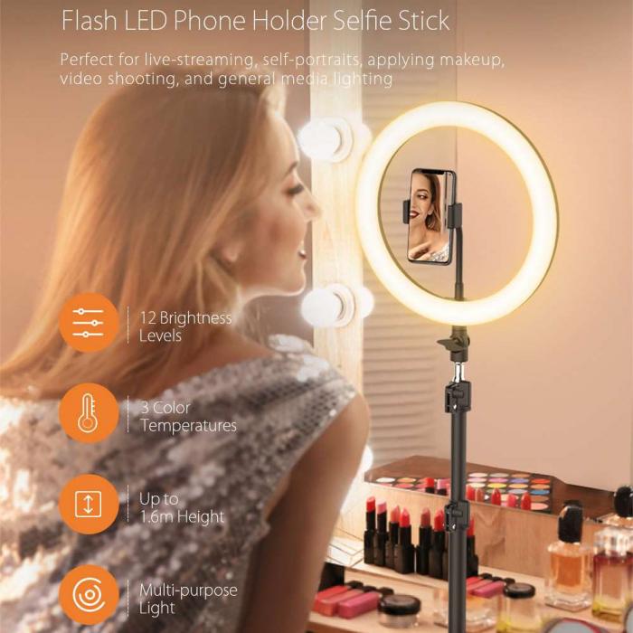 Lampa led makeup profesionala, Ring Light cu 120 leduri lumina rece si calda 2