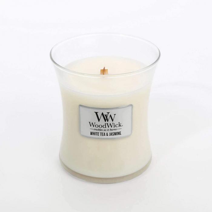 LUMANARE PARFUMATA WOODWICK WHITE TEA & JASMINE 1