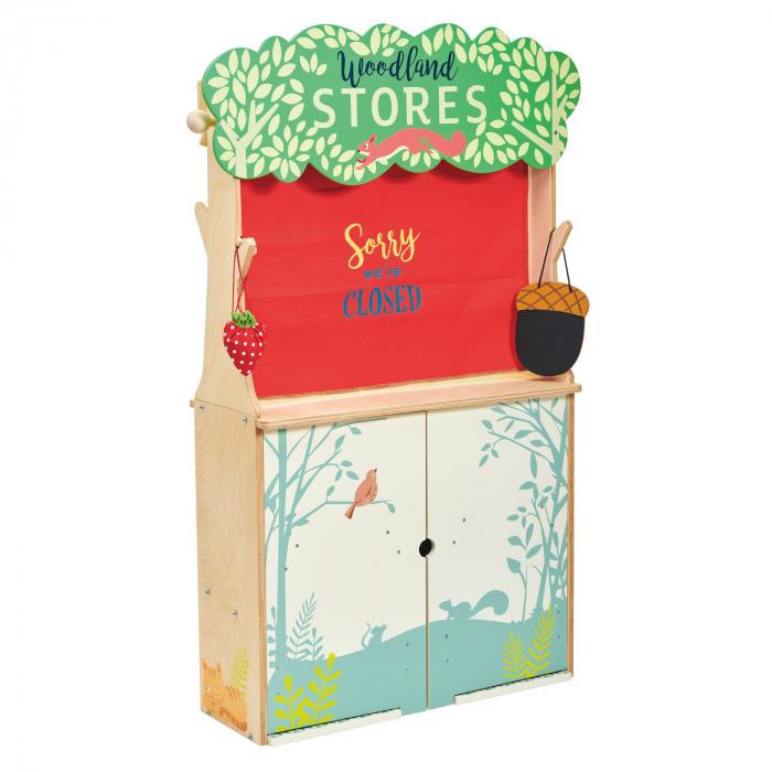Magazin si teatru de marionete pentru copii, stand din lemn premium 8