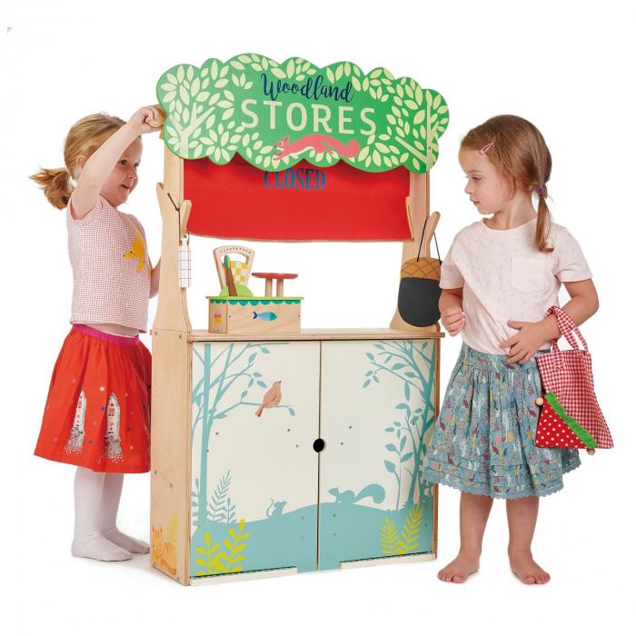 Magazin si teatru de marionete pentru copii, stand din lemn premium 4