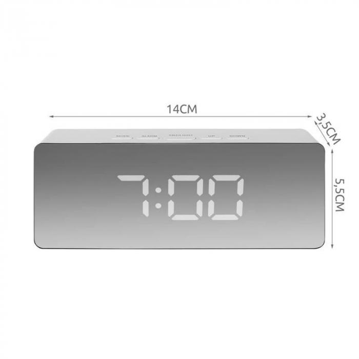 Mini ceas desteptator LED cu termometru si oglinda, dreptunghiular 8
