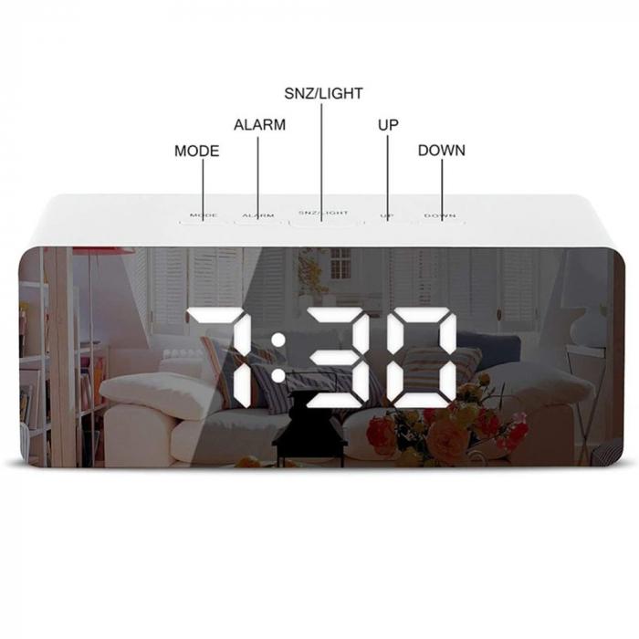 Mini ceas desteptator LED cu termometru si oglinda, dreptunghiular 2