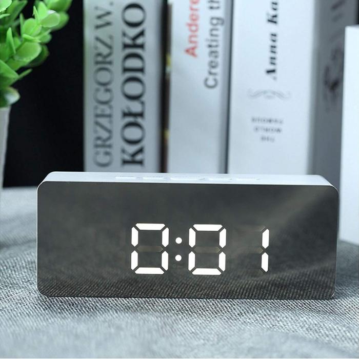 Mini ceas desteptator LED cu termometru si oglinda, dreptunghiular 0