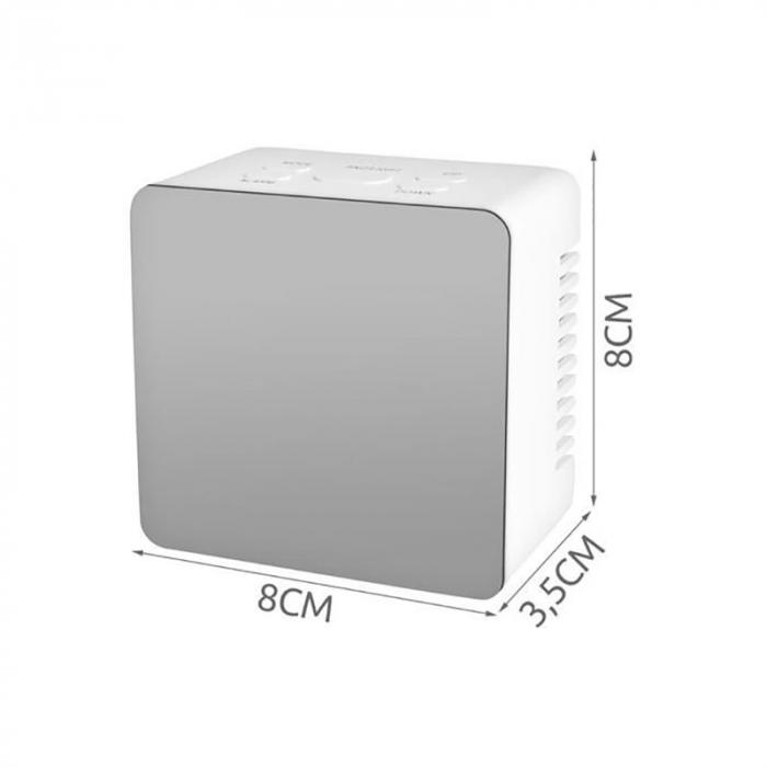 Mini ceas desteptator LED cu termometru si oglinda, patrat 6