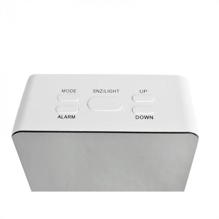 Mini ceas desteptator LED cu termometru si oglinda, patrat 3