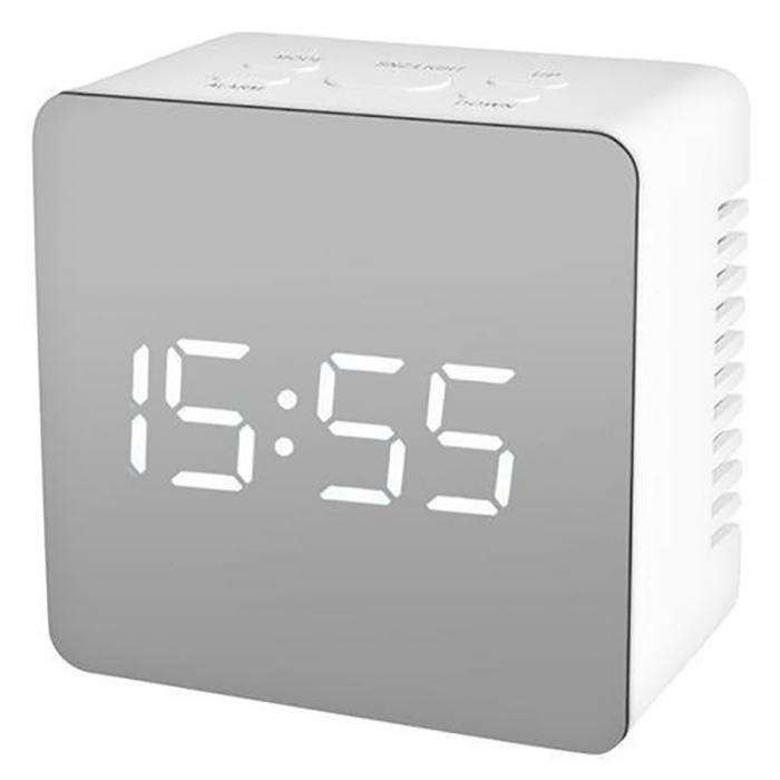 Mini ceas desteptator LED cu termometru si oglinda, patrat 1