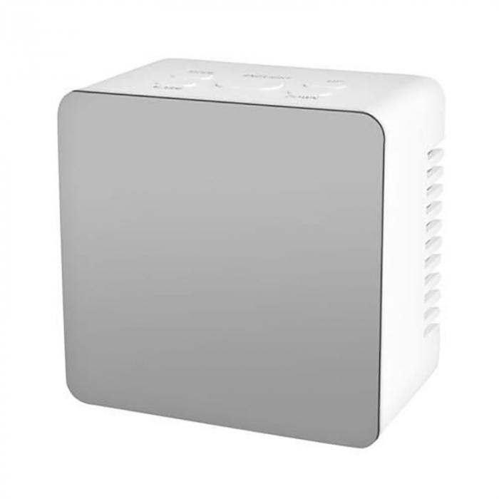 Mini ceas desteptator LED cu termometru si oglinda, patrat 2