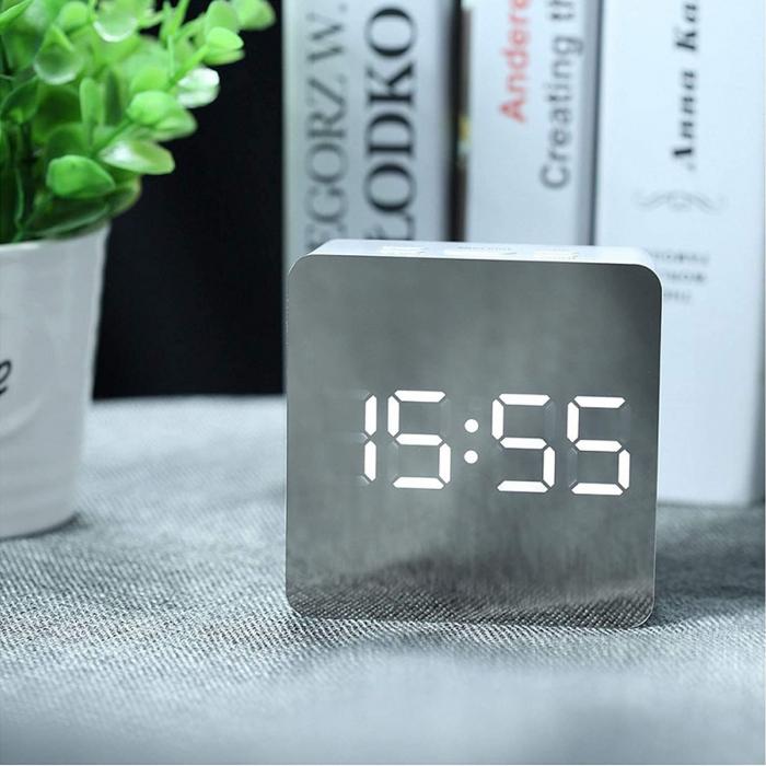 Mini ceas desteptator LED cu termometru si oglinda, patrat 0