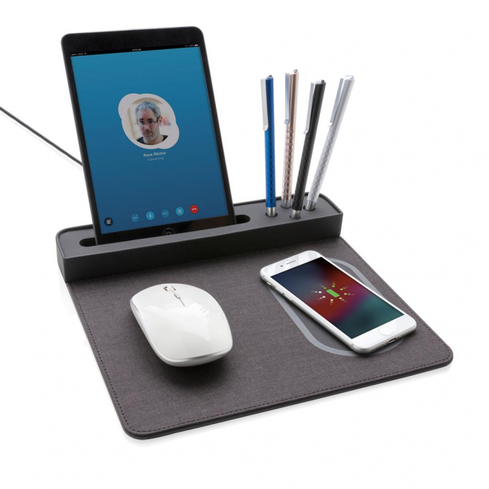 Mousepad cu incarcare wireless 5W si USB 1