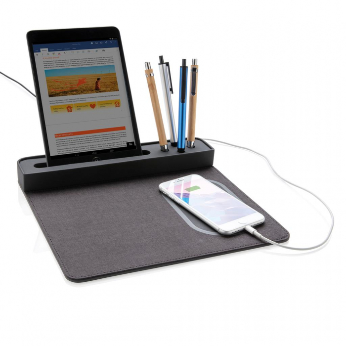 Mousepad cu incarcare wireless 5W si USB 3