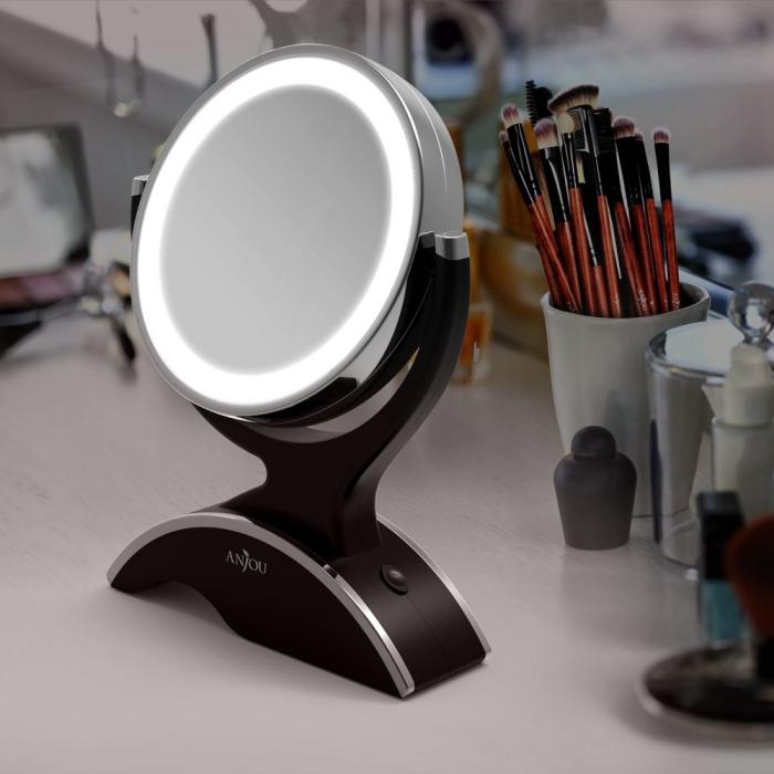 Oglinda machiaj Anjou iluminata LED, 2 fete, Marire 7X 0