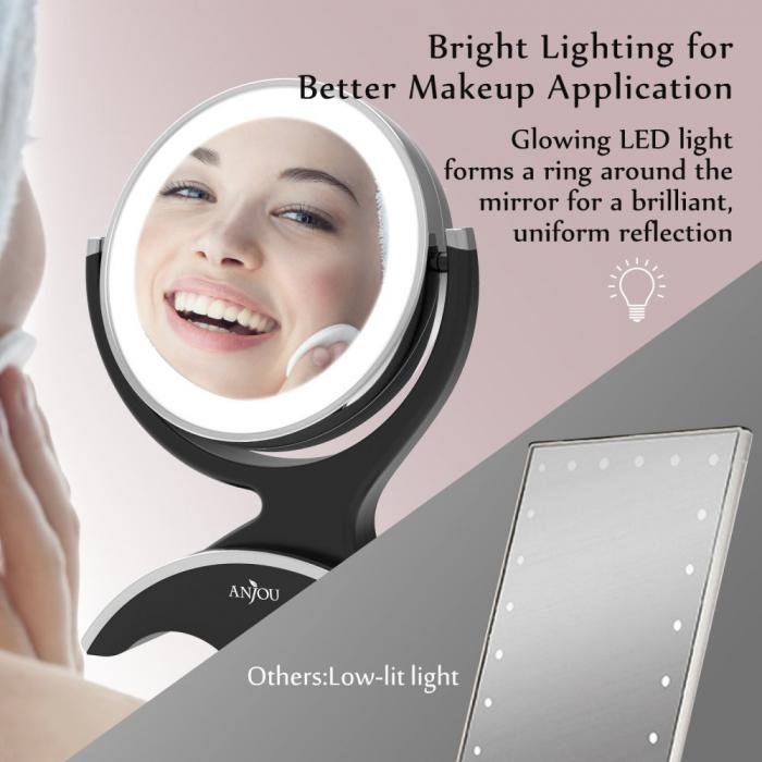 Oglinda machiaj Anjou iluminata LED, 2 fete, Marire 7X 3