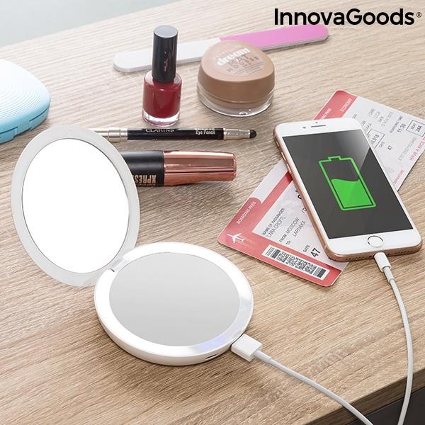 Oglinda machiaj cu becuri led si baterie externa smartphone 0