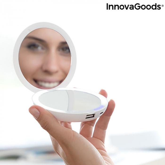 Oglinda MakeUp 3in 1 cu LED si incarcare smartphone 3