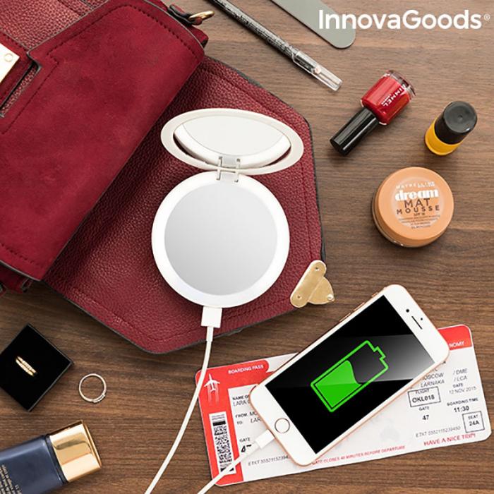 Oglinda machiaj cu becuri led si baterie externa smartphone 2