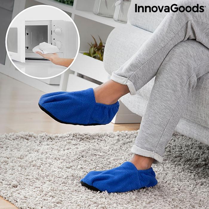 Papuci cu incalzire la microunde, albastri 0