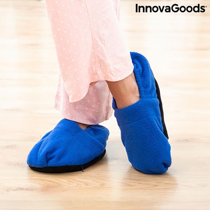 Papuci cu incalzire la microunde, albastri 2