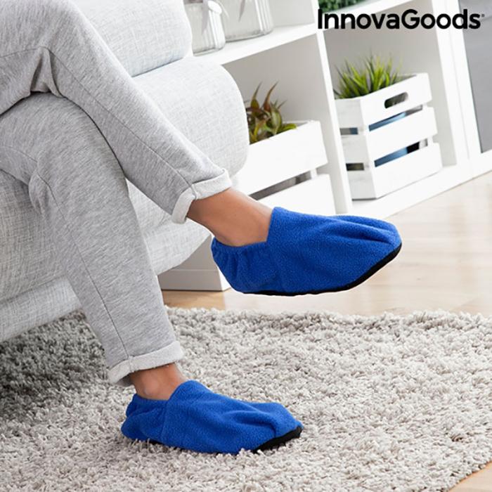 Papuci cu incalzire la microunde, albastri 3