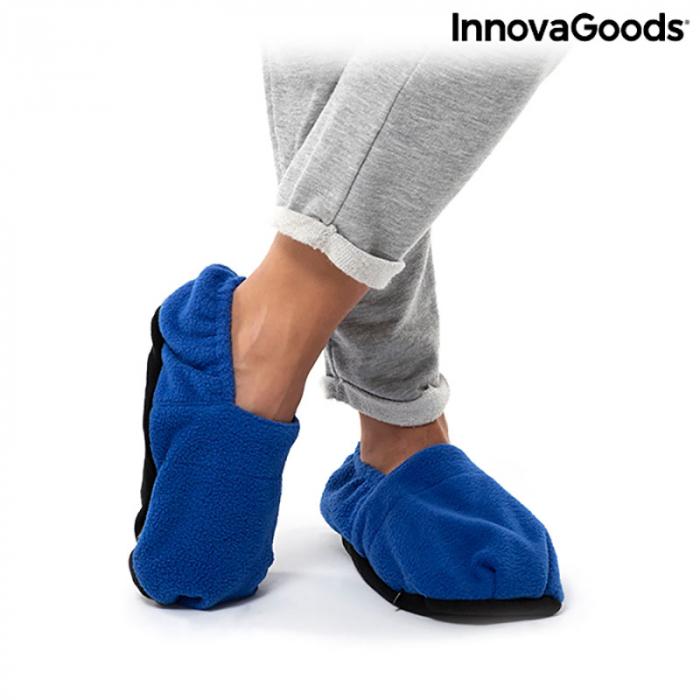 Papuci cu incalzire la microunde, albastri 5