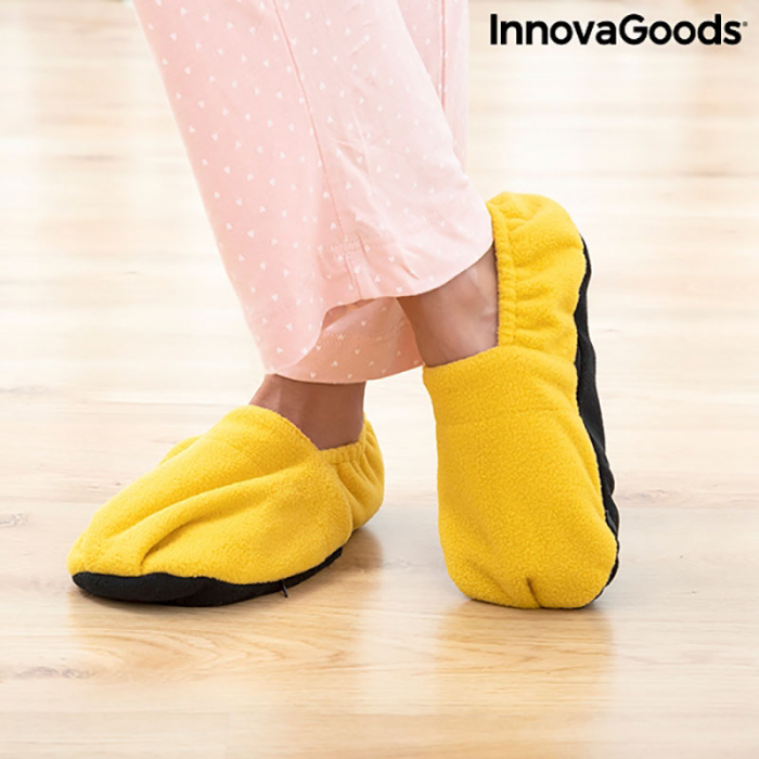 Papuci cu incalzire la microunde, galben mustar 2