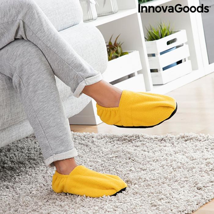 Papuci cu incalzire la microunde, galben mustar 3