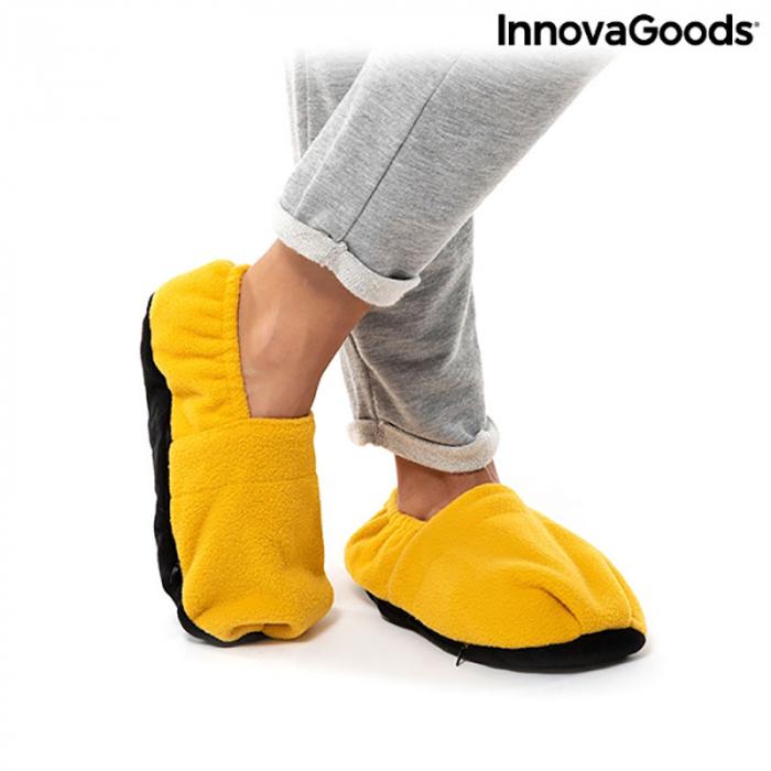 Papuci cu incalzire la microunde, galben mustar 5