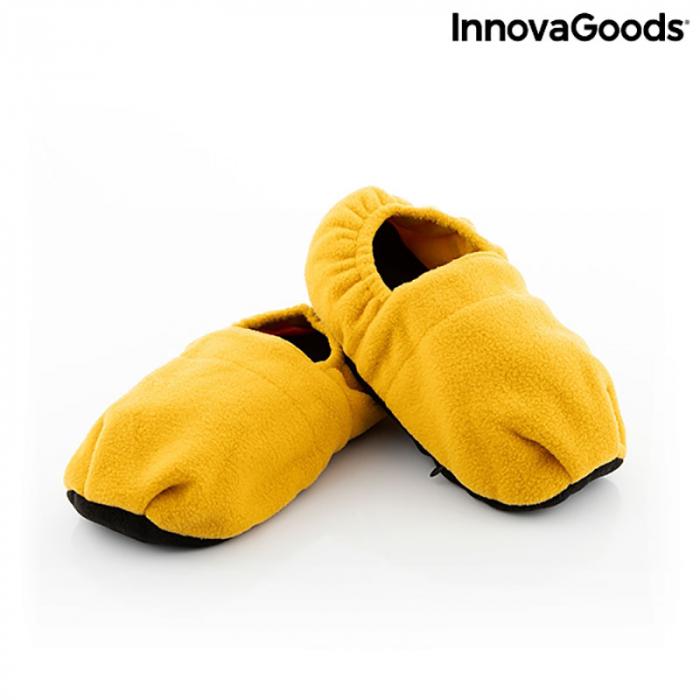 Papuci cu incalzire la microunde, galben mustar 6