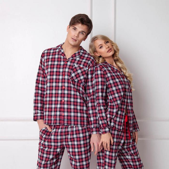 Pijamale barbati Hollis 2 piese, pantaloni lungi, 100% bumbac 1